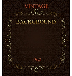 Vintage background with golden frame vector image