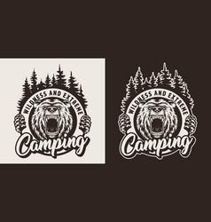 vintage monochrome camping season logotype vector image
