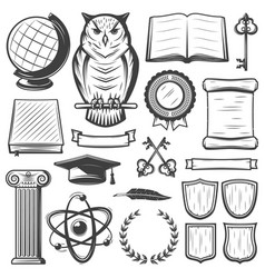 Vintage university and academy elements set vector