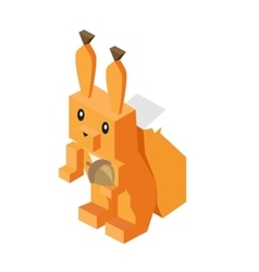 Wild Animal Squirrel Isometric 3d Design vector