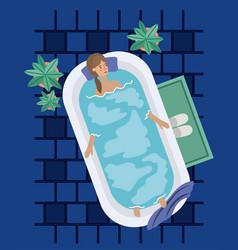 Woman taking a bath tub vector