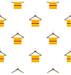 Yellow scarf on wooden coat hanger pattern flat vector