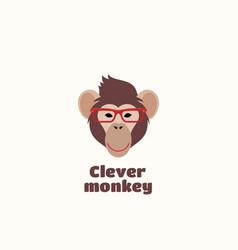 clever monkey sign emblem or logo template vector image vector image