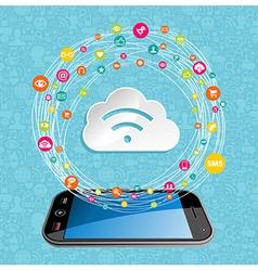 Cloud computing network concept vector image vector image