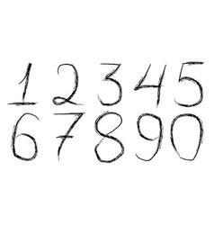 font handwritten digits brush hand vector image