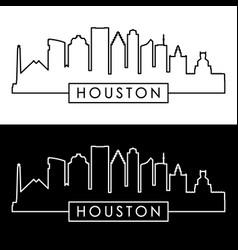 houston skyline linear style vector image vector image