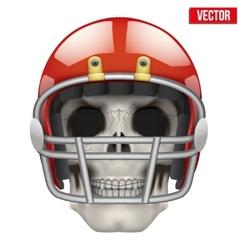 Human skull with american football player helmet vector image vector image