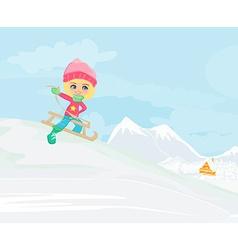 Little girl sledding - vector image vector image