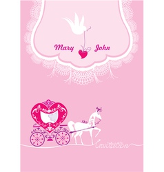 Pink Greeting Card with a lace ornament vector image vector image