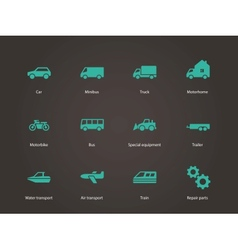 Cars and Transport icons vector image