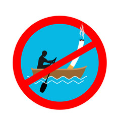 Forbidden to smoke on boat red sign prohibiting vector