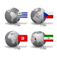 gray earth globes with designation of uruguay vector image vector image