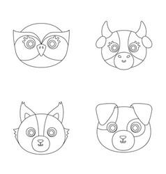 Owl cow wolf dog animal s muzzle set vector