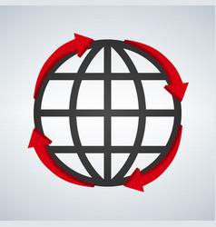 round red arrows around world planet icon digital vector image