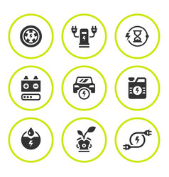set round icons of electric car vector image vector image
