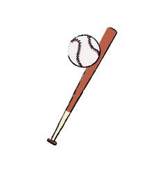 bat and ball baseball sportive equipment vector image