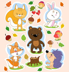 cartoon isolated clip art with cute forest animals vector image
