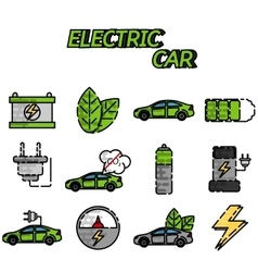 Electric car flat icon set vector image