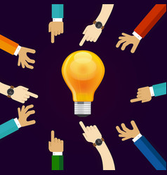 many hands working together for an idea a bulb vector image