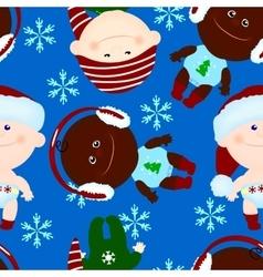 seamless background baby kid christmas vector image