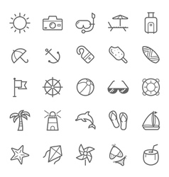 Set of Outline stroke Beach icons vector image vector image