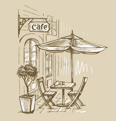 Street cafe in old town vector