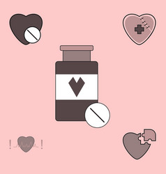 Collection of icons and heart diseases vector