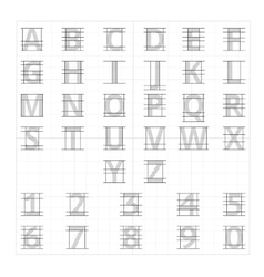 Drafting paper alphabet drawing sketch vector image vector image