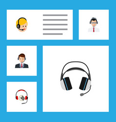 flat icon call set of help headphone hotline and vector image vector image