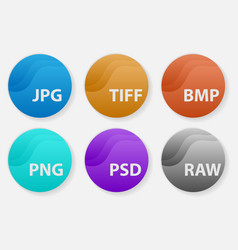 image file types formats labels icon set vector image