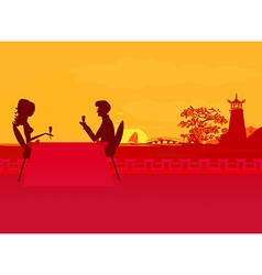 silhouette couple flirt and drink champagne on vector image vector image
