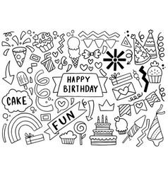 0052 hand drawn party doodle happy birthday vector