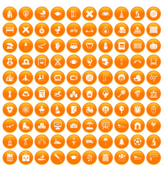 100 kids icons set orange vector