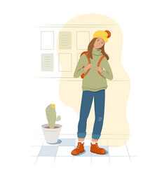 a tired student stands holding a backpack vector image