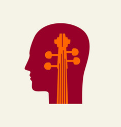 a violin in human head flat-style music icon vector image
