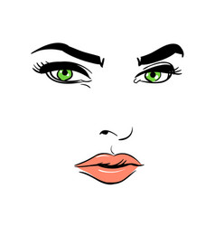 a woman s face green-eyed mysterious vector image