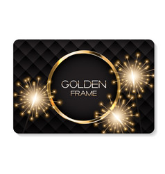 Abstract card with golden frame and bengal lights vector