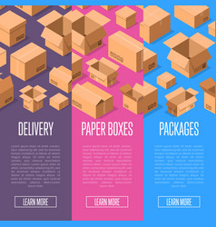 advertising template with paper packing boxes vector image