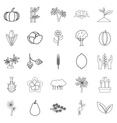 Alive world icons set outline style vector