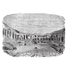Amphitheater arles town clock of vector