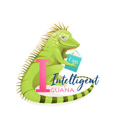 animal abc letter i is for intelligent iguana vector image
