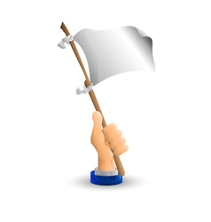 Arm Business hand The white flag in his hand vector