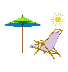 Beach chaise lounge umbrella and sun vector image