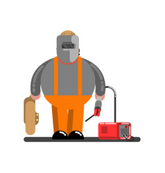 Big welder with welding machine vector