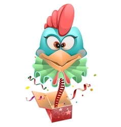 Blue head Rooster clown jumps out of box vector