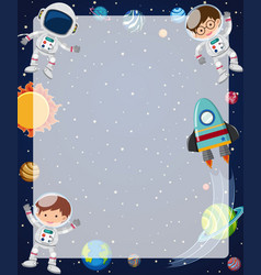Border template with astronauts flying in sky vector