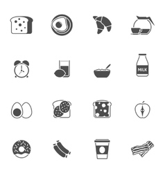 Breakfast and morning black white icons set vector image
