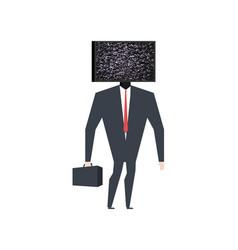 businessman head tv broken television glych effect vector image