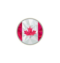 Canada Flag Icon Circle Low Polygon vector