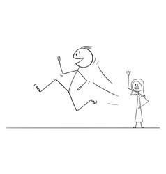 Cartoon happy smiling man or husband leaving vector